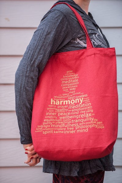 Recycled Cotton Canvas Shopping Tote Bag Harmony Red