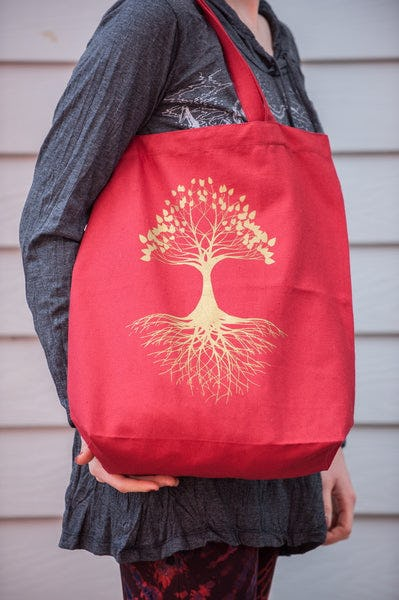 Recycled Cotton Canvas Shopping Tote Bag Tree of Life Red