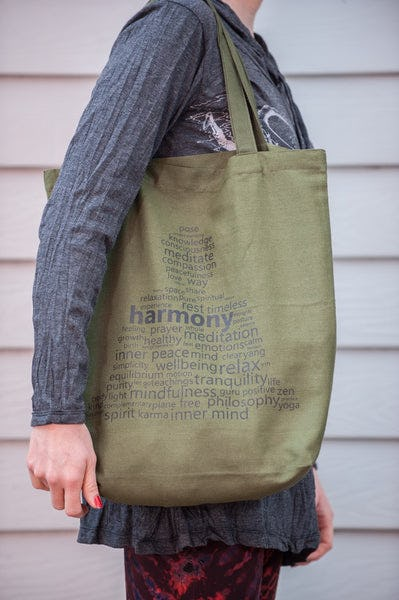 Recycled Cotton Canvas Shopping Tote Bag Harmony Green