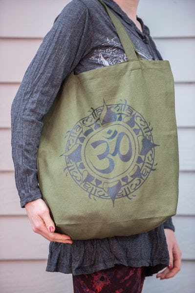 Recycled Cotton Canvas Shopping Tote Bag Ohm Green