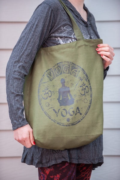 Recycled Cotton Canvas Shopping Tote Bag Yoga Green