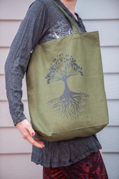 Recycled Cotton Canvas Shopping Tote Bag Tree of Life Olive