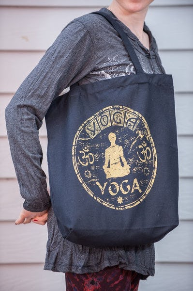 Recycled Cotton Canvas Shopping Tote Bag Yoga Gold on Black