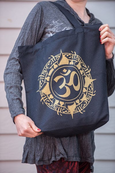 Recycled Cotton Canvas Shopping Tote Bag Ohm Gold on Black
