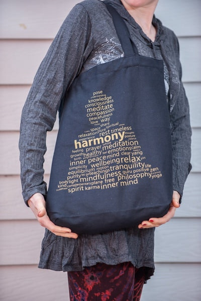Recycled Cotton Canvas Shopping Tote Bag Harmony Gold on Black