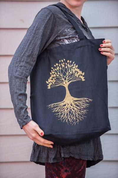 Recycled Cotton Canvas Shopping Tote Bag Tree of Life Gold on Black