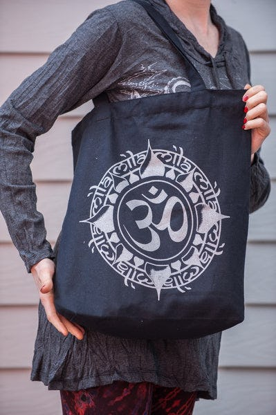 Recycled Cotton Canvas Shopping Tote Bag Ohm Silver on Black
