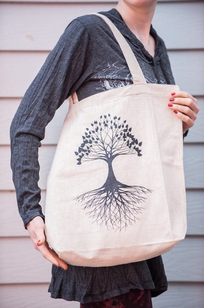 Recycled Cotton Canvas Shopping Tote Bag Tree of Life Natural