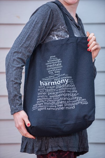 Recycled Cotton Canvas Shopping Tote Bag Harmony Silver on Black