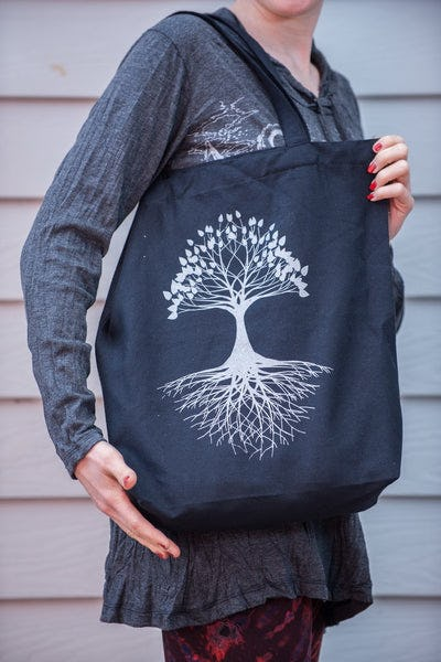 Recycled Cotton Canvas Shopping Tote Bag Tree of Life Silver on Black