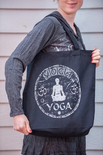 Recycled Cotton Canvas Shopping Tote Bag Yoga Silver on Black