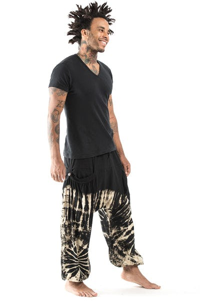 Tie Dye Cotton Men Harem Pants in Black