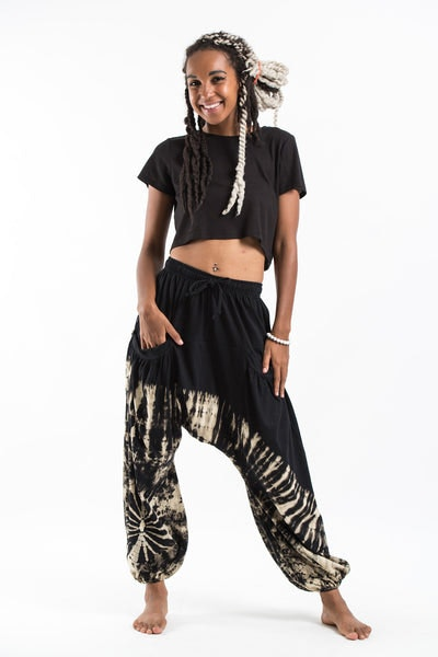 Tie Dye Cotton Women Harem Pants in Black