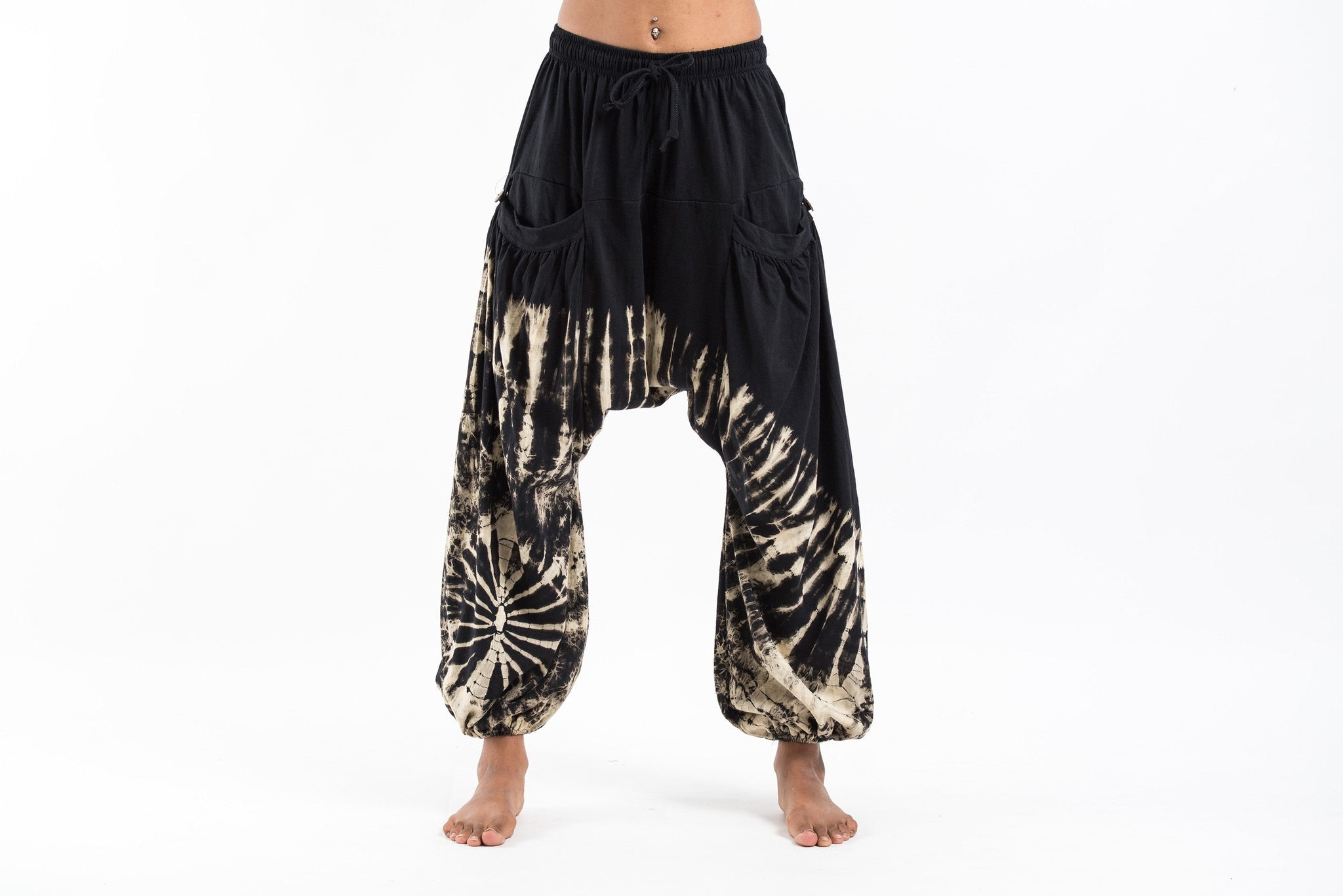 Lastest Tie Dye Cotton Women Harem Pants In Black