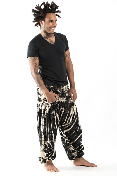 Tie Dye Cotton Men Harem Pants in Black and White