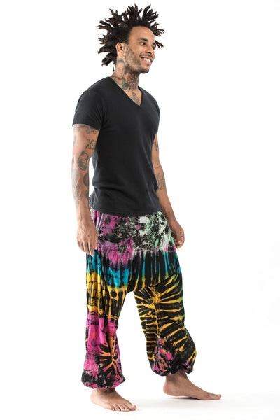 Tie Dye Cotton Men Harem Pants in Festival Black