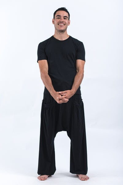 Cotton Men Harem Pants in Solid Black
