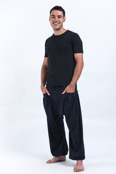 Cotton Men Harem Pants in Solid Navy