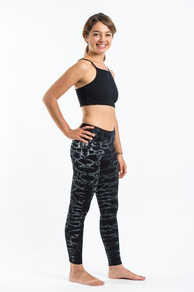 Marble Tie Dye Cotton Legging in Black
