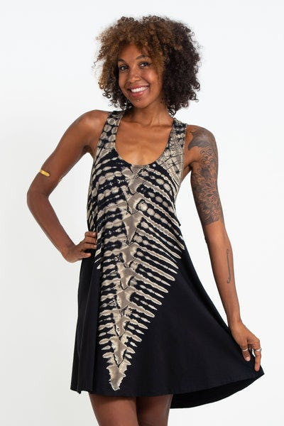 Tie Dye Cotton Tank Dress in Black 02