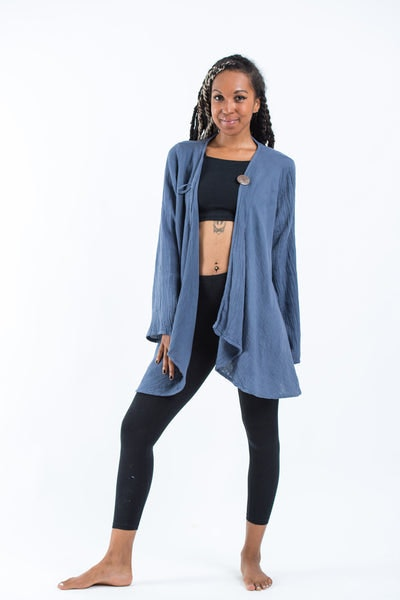 Women's Crinkled Hill Tribe Cotton  Cardigan in Blue