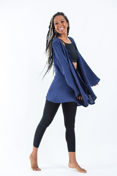 Women's Crinkled Hill Tribe Cotton Cardigan in Navy