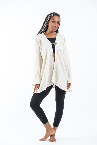 Women's Crinkled Hill Tribe Cotton  Cardigan in White