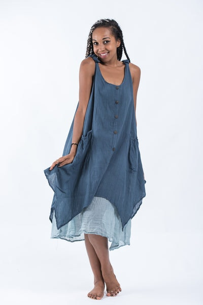 Women's Crinkled Hill Tribe Cotton Tank Dress in Blue
