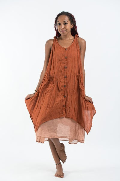 Women's Crinkled Hill Tribe Cotton Tank Dress in Brick