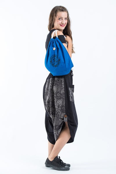 Ohm Drawstring Cotton Canvas Backpack in Dark Blue