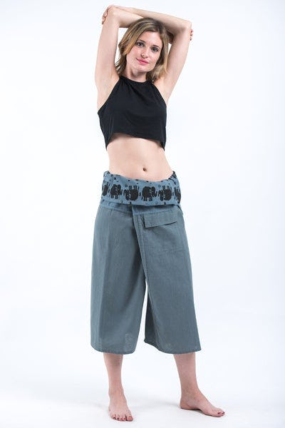 Women's Cropped Fisherman Pants with Pattern Waist Band in Blue Gray