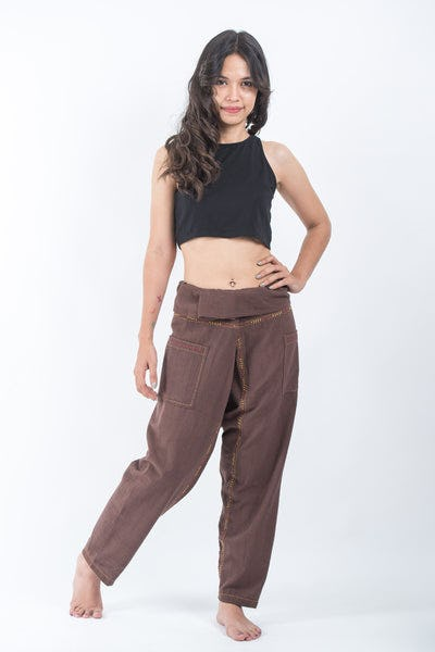 Hand Embroidered Women's Slim Cut Fisherman Pants in Brown