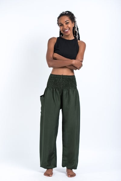 Solid Color Women's Harem Pants in Dark Green