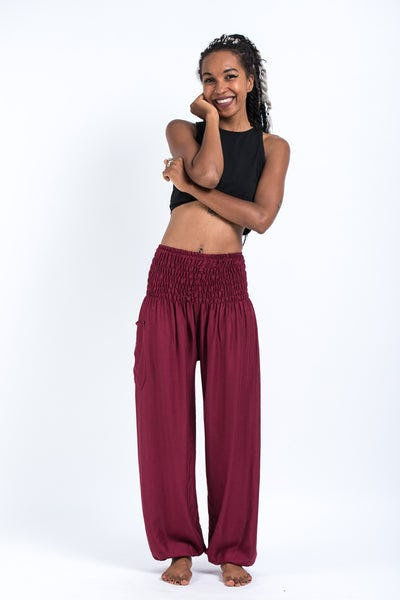 Solid Color Women's Harem Pants in Red