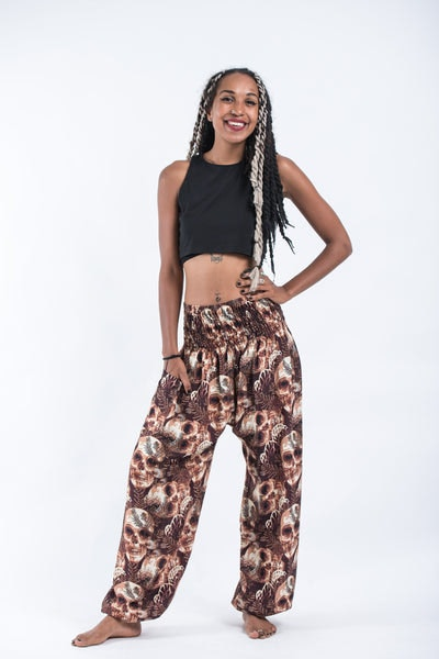 Skulls Women's Harem Pants in Brown