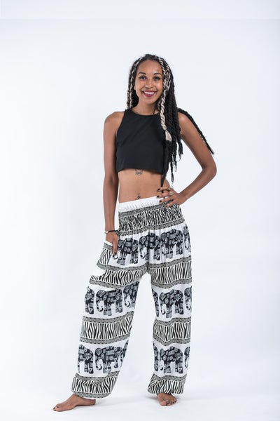 Safari Elephants Women's Harem Pants in White