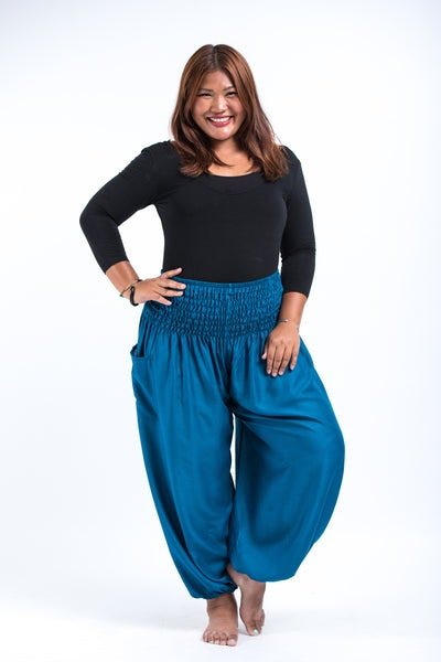 Plus Size Solid Color Women's Harem Pants in Aqua