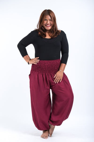 Plus Size Solid Color Women's Harem Pants in Red