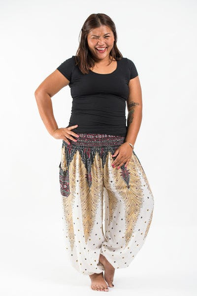 Plus Size Peacock Feathers Women's Harem Pants in White