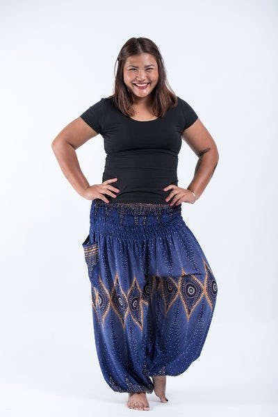 Plus Size Diamond Peacock Women's Harem Pants in Blue