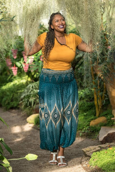 Plus Size Diamond Peacock Women's Harem Pants in Turquoise