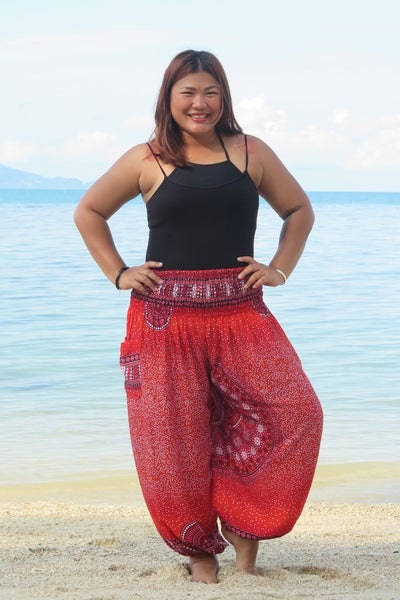 Plus Size Tribal Chakras Women's Harem Pants in Red