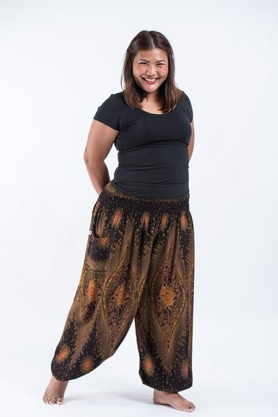 Plus Size Peacock Eye Women's Harem Pants in Brown