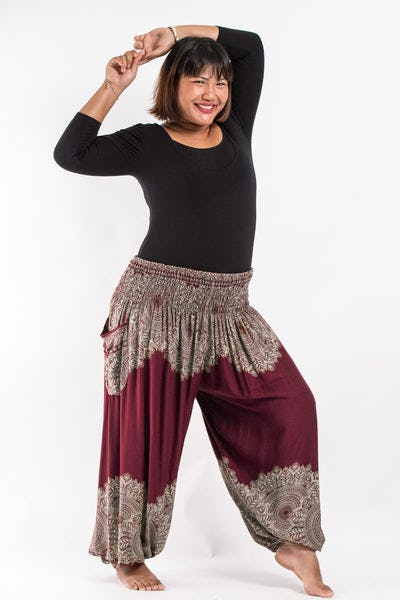Plus Size Floral Mandalas Women's Harem Pants in Maroon