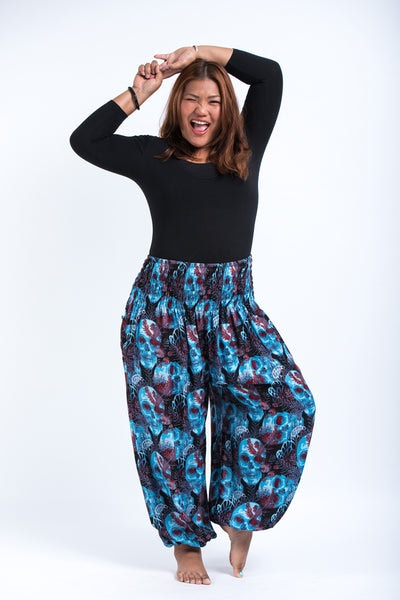 Plus Size Skulls Women's Harem Pants in Black Blue