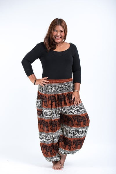 Plus Size Safari Elephant Women's Elephant Pants in Brown