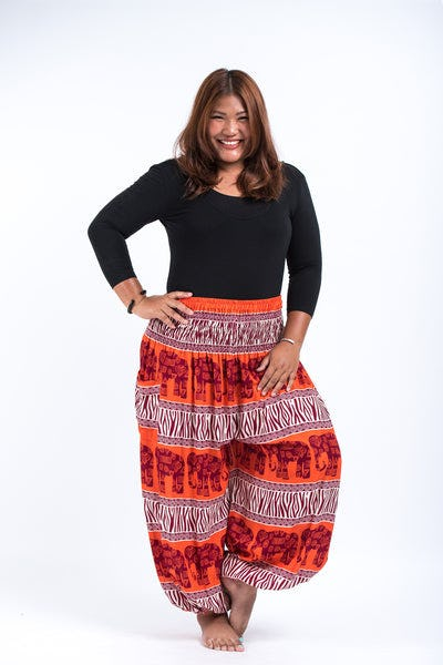 Plus Size Safari Elephants Women's Harem Pants in Orange