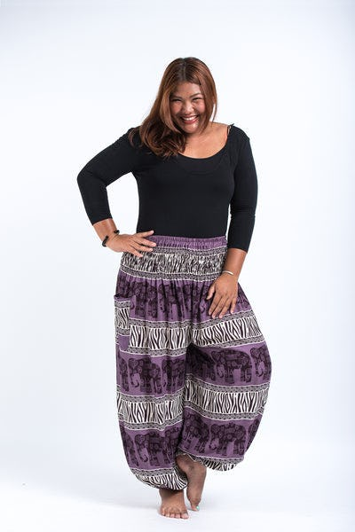 Plus Size Safari Elephants Women's Harem Pants in Violet