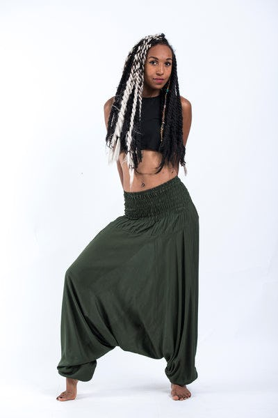 Solid Color Jumpsuit Harem Pants in Dark Green