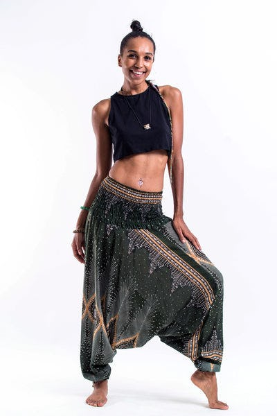 Diamond Peacock Jumpsuit Harem Pants in Green